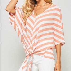 Tops - Peach & white stripe top with tie at the bottom
